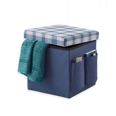Sit + Store Foldable Cube Ottoman in Blue Plaid