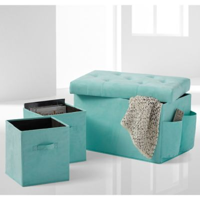 24-Inch Folding Storage Ottoman with Two Folding Storage Cubes in Pool Blue