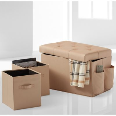 24-Inch Folding Storage Ottoman with Two Folding Storage Cubes in Taupe