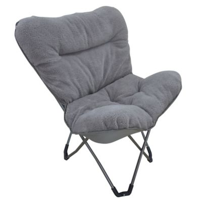 Folding Plush Butterfly Chair with Carry Bag in Grey