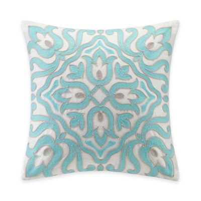 Echo Design™ Cyprus Abstract Floral Beaded Square Throw Pillow in White/Aqua