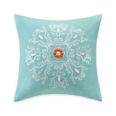 Echo Design™ Cyprus Embroidered Square Throw Pillow in Aqua