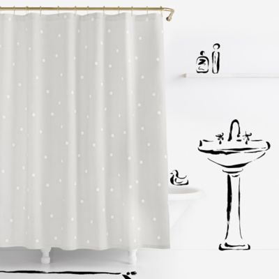 kate spade new york Deco Dot Shower Curtain in Platinum