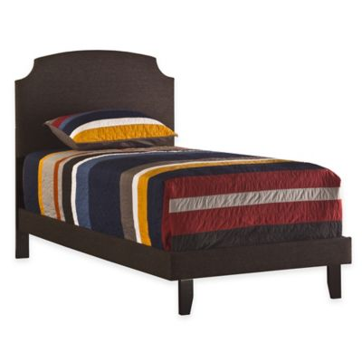 Hillsdale Lawler Upholstered Twin Bed with Rails in Black/Brown