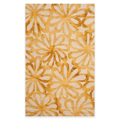 Safavieh Dip Dye Floral Burst 2-Foot x 3-Foot Accent Rug in Beige/Gold