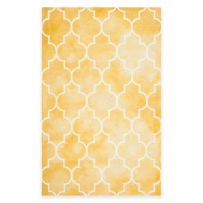 Safavieh Dip Dye Trellis Point 6-Foot x 9-Foot Area Rug in Gold/Ivory