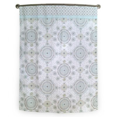 Bardwil Linens Dena Bali Shower Curtain in Ivory/Green/Aqua