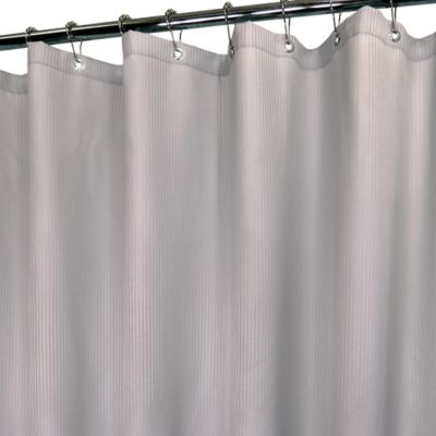 Mini Satin Stripe Stall Shower Curtain in Antique Silver