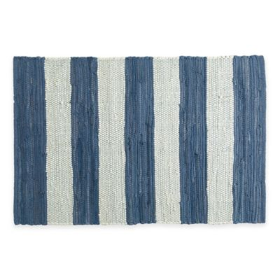 Chindi Hand-Woven 31.5-Inch x 20-Inch Kitchen Rug in Blue/White Stripe