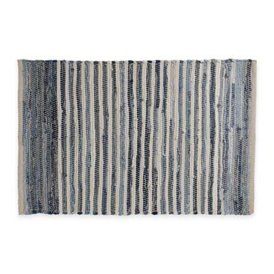 Chindi Hand-Woven Area Rug in Denim Stripe