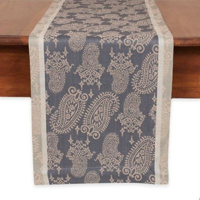 Boteh 90-Inch Table Runner in Slate/Taupe