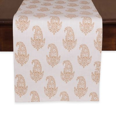 Rani Table Runner in White/Gold