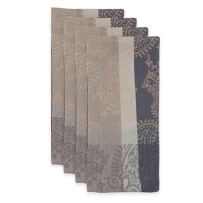 Boteh Napkins in Slate/Taupe (Set of 4)