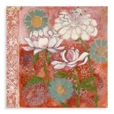 Parvez Taj Peony and Dahlia 24-Inch x 24-Inch Canvas Wall Art