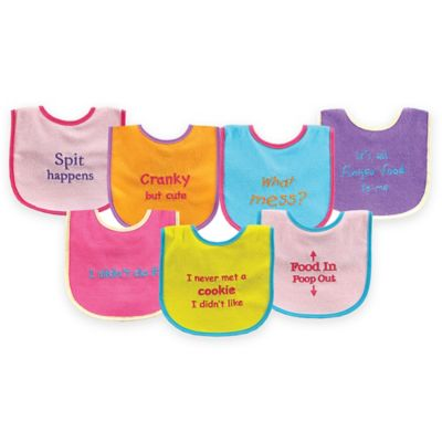 BabyVision® Luvable Friends® 7-Pack Bold Sayings Drooler Bib Set in Pink