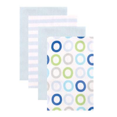 BabyVision® Luvable Friends® 4-Pack Blue Circle Burp Cloths