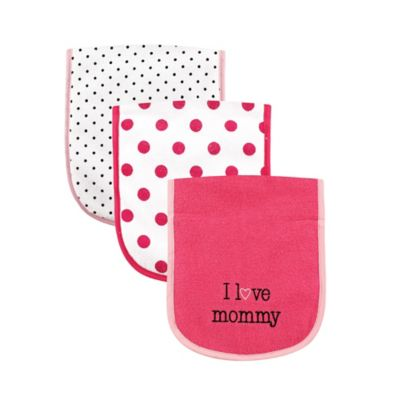 """BabyVision® Luvable Friends® 3-Pack """"I Love Mommy"""" Burp Cloth"""