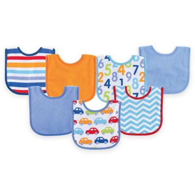BabyVision® Luvable Friends® 7-Pack Print Drooler Bib Set in Blue