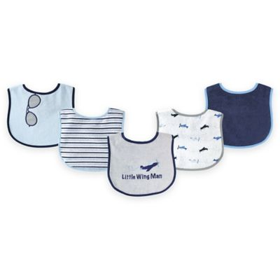 BabyVision® Luvable Friends® 7-Pack Plane Bib Set in Grey