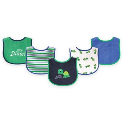BabyVision® Luvable Friends® 7-Pack Turtle Bib Set in Green