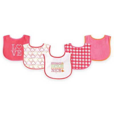 BabyVision® Luvable Friends® 5-Pack Sugar & Spice Bib Set in White