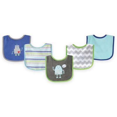 BabyVision® Luvable Friends® 5-Pack Robot Bib Set in Blue