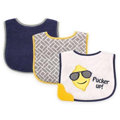 BabyVision® Luvable Friends® 3-Pack Lemon Teether Bib Set in Blue