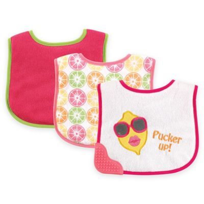BabyVision® Luvable Friends® 3-Pack Pink Lemon Teether Bib