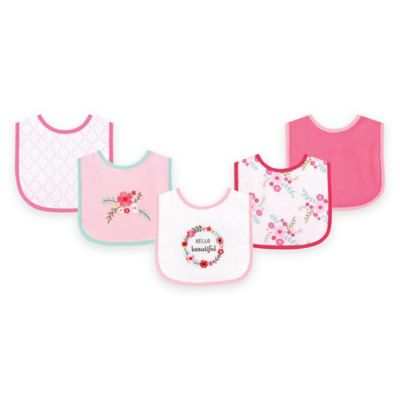 BabyVision® Luvable Friends® 5-Pack Floral Drooler Bib in Pink