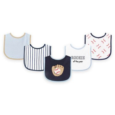 BabyVision® Luvable Friends® 5-Pack Baseball Drooler Bib Set in Blue