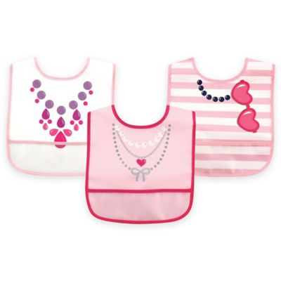 BabyVision® Luvable Friends® Bib Set 3-Pack PEVA Dress Up Bib for Girls