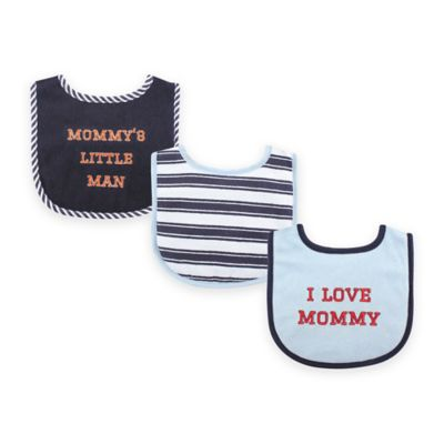 "BabyVision® Luvable Friends 3-Pack ""I Love Mommy"" Drooler Bib Set in Blue"