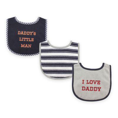"BabyVision® Luvable Friends 3-Pack ""I Love Daddy"" Drooler Bib Set in Blue"