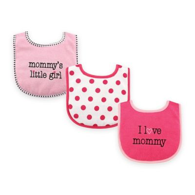 "BabyVision® Luvable Friends 3-Pack ""I Love Mommy"" Drooler Bib Set in Pink"