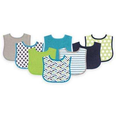 BabyVision® Luvable Friends® 8-Pack Geometric Drooler Bib Set in Blue