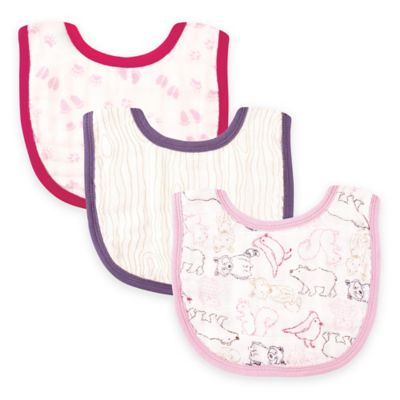 BabyVision® Touched by Nature 3-Pack Organic Muslin Bib Set in Pink Woodland
