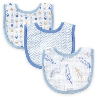 BabyVision® Hudson Baby® 3-Pack Feathers Muslin Bib Set in Blue