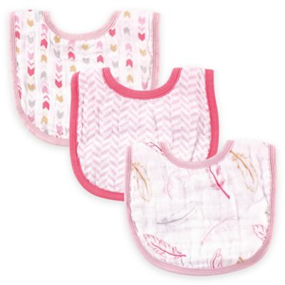 BabyVision® Hudson Baby® 3-Pack Feathers Muslin Bib Set in Pink