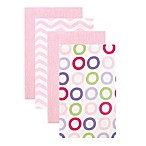 BabyVision® Luvable Friends® 4-Pack Pink Circle Burp Cloths