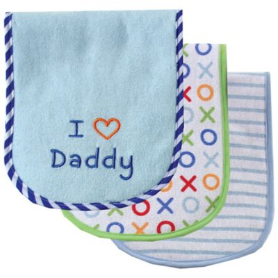"BabyVision® Luvable Friends® 3-Pack "" I Love Daddy"" Burp Cloth Set in Blue"