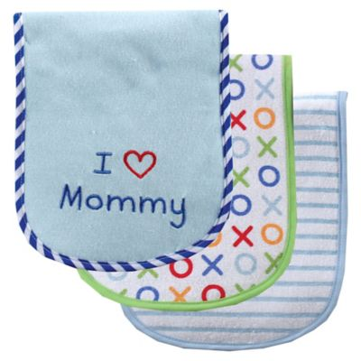 "BabyVision® Luvable Friends® 3-Pack "" I Love Mommy"" Burp Cloth Set in Blue"