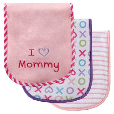 """BabyVision® Luvable Friends® 3-Pack """" I Love Mommy"""" Burp Cloth Set in Pink"""