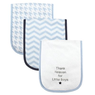 "BabyVision® Luvable Friends® 3-Pack ""Thank Heaven for Little Boys"" Burp Cloth in Blue"