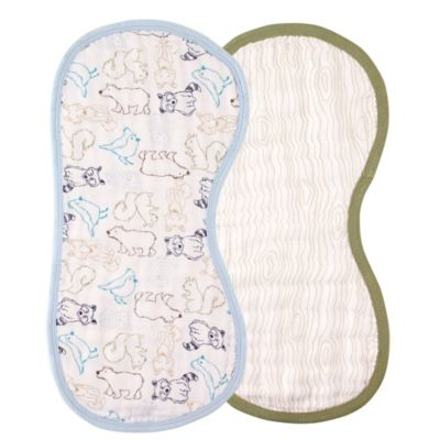 BabyVision® Touched by Nature 2-Pack Organic Muslin Burp Cloth Set in Blue Woodland