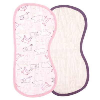 BabyVision® Touched by Nature 2-Pack Organic Muslin Burp Cloth Set in Pink Woodland