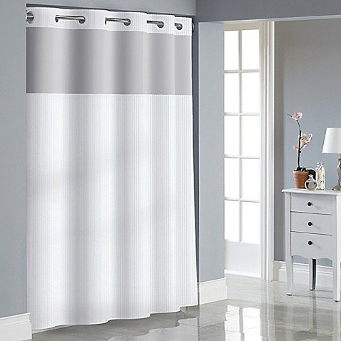 Buy Hookless Stripe Jacquard Shower Curtain In White From Bed Bath Beyond