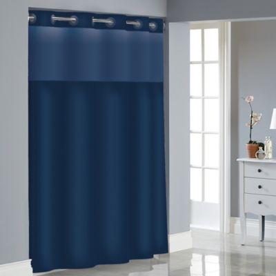 Hookless Stripe Jacquard Shower Curtain in Navy