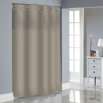 Hookless Stripe Jacquard Shower Curtain in Desert Taupe