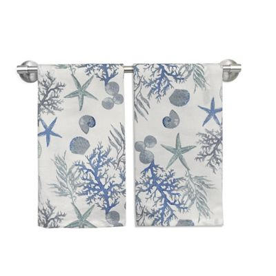 Atlantic Coastal Guest Towels in Blue (Set of 2)
