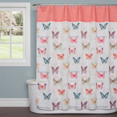 Saturday Knight Rainbow Butterfly Shower Curtain